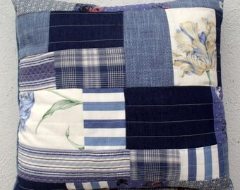 Shades of Blue Quilted Patchwork Cushion Throw Pillow Unique Modern