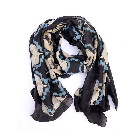 Black and white cotton Scarf black blue scarves silk cotton Block Print wrap wholesale natural geo tile women accessories -GRENADA