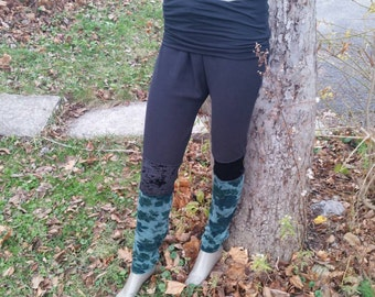 Velvet and microfleece leggings ,swants, winter flow pants, fold over waist band,cozy warm