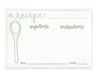 A Recipe Letterpress Recipe Cards - set of ten