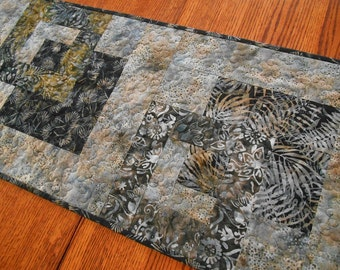 Modern Batik Table Runner in Dramatic Shades of Black Grey and Blue, Quilted Table Runner, Contemporary Batik Table Runner, Long Runner