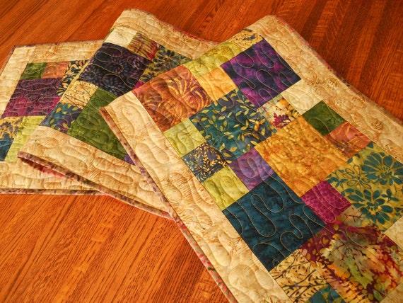Quilted Batik Table Runner In Purple Gold Green And Indigo