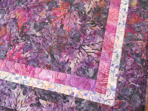 Quilted Batik Table Topper with Leaves in Purple Charcoal Grey and Pink, Square Table Topper, Quilted Table Mat, Quilted Batik Tablecloth
