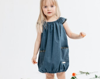 Usva -dress for girls, denim blue