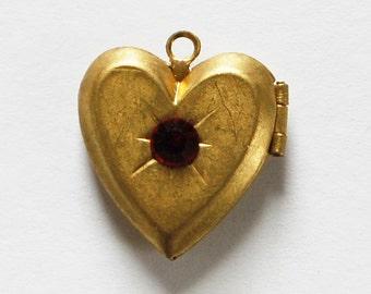 Vintage Brass Heart Locket Swarovski Ruby Red Rhinestone 16mm