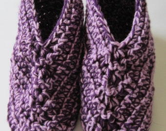 Women's Size 6 1/2 - 7 1/2 Crocheted Slippers, Light and Dark Purple, Size 7