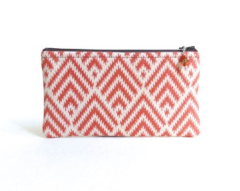 Cosmetic Bag / Zippered Bag - Orange Creamsicle - READY TO SHIP