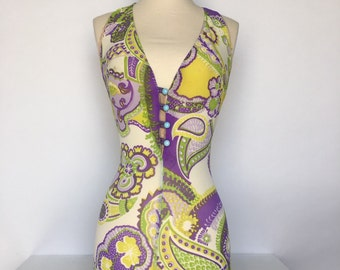 AWESOME 60s mesh psychedelic purple and acid yellow one piece bathing suit