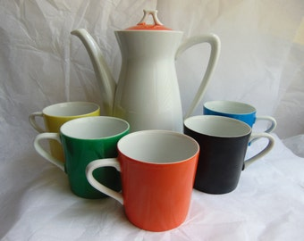 Vintage Mid Century Modern Coffee Espresso Cups and Pot Set