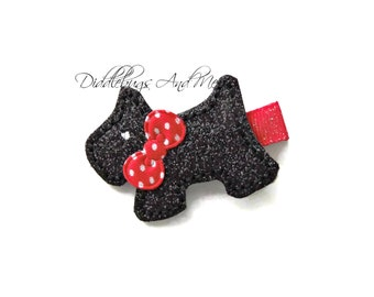 Scottie Hair Clip, Puppy Hair Clip, Black Scottie Pup Hair Clip, Girls Dog Hair Clip, Baby Hair Clips, Hair Clips For Girls Hair Clip