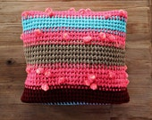 Knit Cushion / Knit Pillow / Bohemian Pillow / Pillow Case / Pink Turquoise / Boho Pillow Case / Bohemian Throw / Sofa Throw / Ethnic