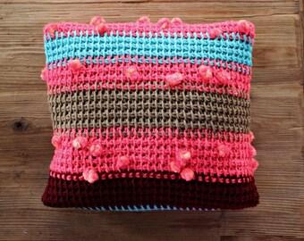 Knit Cushion / Knit Pillow / Bohemian Pillow / Pillow Case / Pink Turquoise / Boho Pillow Case / Bohemian Throw / Sofa Throw / Ethnic