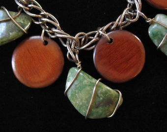 Wood and Aventurine Charm Bracelet