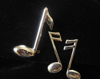 Sterling Silver Musical Notes, Beau Sterling Pin, Matching Earrings