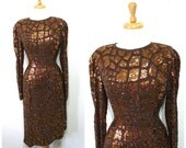 Vintage Sequin Beaded Dress Oleg Cassini Asymmetrical Copper Silk Cocktail Party Gown M