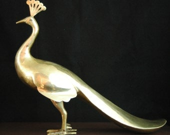 Vintage Large Brass Peacock Statue, Mid Century Brass Bird. Hollywood Regency, Bohemian