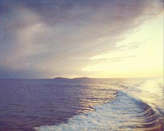 "Ocean Sunset Photography, ""Sunset Wake"" Fine Art Picture. Caribbean Photograph. Purple, Yellow. St. John, USVI."