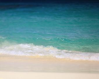 "Beach Photography, Waves Seashore Ocean Turquoise Blues Greens ""Ashore"" Tropical Photograph Art. Wall Art, Home Decor. 8x10, 11x14, 16x20"