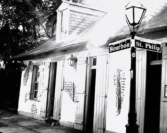 "Jean Lafitte's ""Blacksmith Shop"". New Orleans French Quarter Photograph Black and White. Mardi Gras."