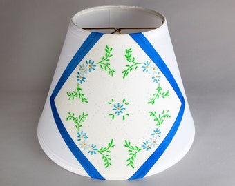 Charming New Lamp Shade Embellished with Vintage Blue Green Floral Quilt Fabric-Unique Handcrafted Charming Lampshade