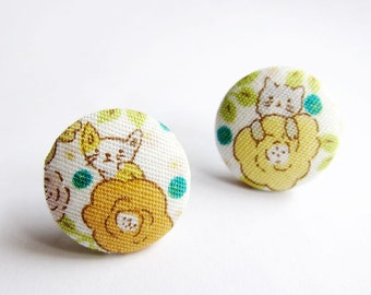 Button Earrings / Clip On Earrings - cat earrings on yellow floral