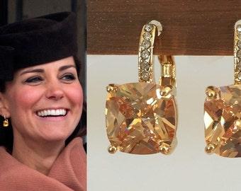Kate Middleton Citrine Square Gold Crystal Earrings- e416