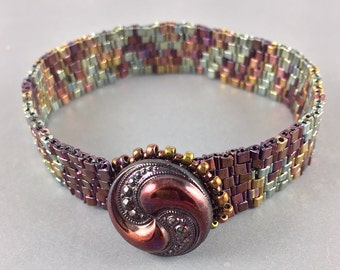 Beaded Bracelet with Vintage Czech Glass Button Clasp by Marcie Stone