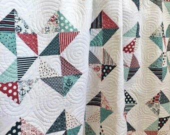 Boy Twin Quilt, BoatHouse HANDMADE, Aqua, Red, Navy, White 71x90""