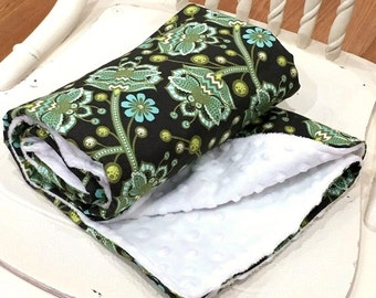 """Blanket Minky Baby 30x35"""" Tula Pink Birds and Bees - Bees Knees in Forest"""