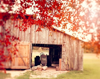 Barn Photography, Fall Leaves, Autumn in Michigan, Wall Art Print, vintage tractor, crimson red, burnt orange, nature landscape photograph