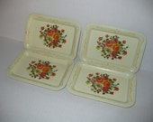 Vintage Style Small Flowered Tin Trays (4)
