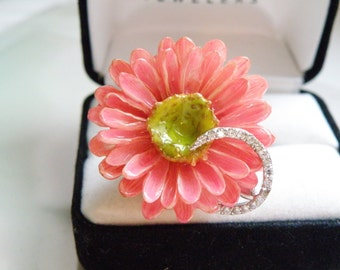 Vintage Sterling Silver 925 Porcelain Enamel Daisy Flower STATEMENT Ring Size 7