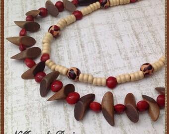 Pau-Brazil Seeds Necklace Set, Seeds and Wood Necklace Set, Seeds and Wood Jewelry