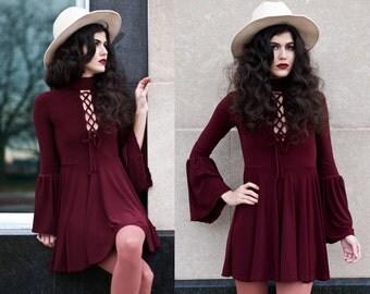 Burgundy Turtle Neck Lace Up Bell Sleeve Mini Dress XS S M L XL