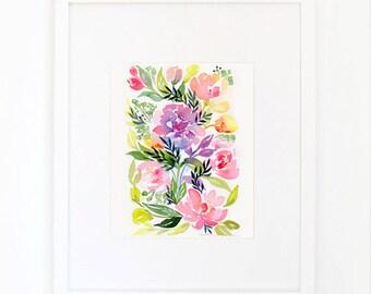 Watercolor Violet Floribunda Rose with Peonies Print