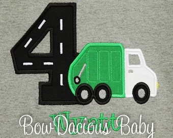 Garbage Truck Birthday Shirt, Boy's Garbage Truck Birthday Shirt, Personalized Garbage Truck Birthday Shirt, Any Age, You Pick Fabrics
