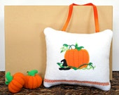 Halloween Door Hanger Pillow Pumpkin Witches Hat Vine White Orange Green Black Decorative Repurposed