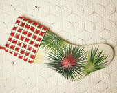 Starburst Design Mid-Century Modern Eames Vintage Barkcloth and Chenille Christmas Stocking