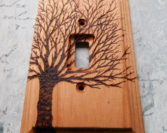 RESERVED for SAM, Bare Tree, wooden switch plate cover, wood burned tree, hand made, one of a kind,