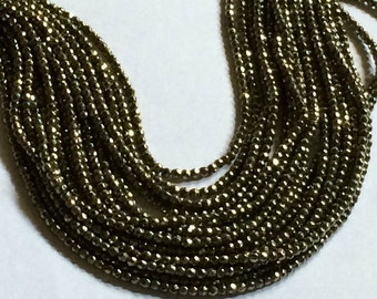 "12.75"" Strand 2mm Round Faceted Pyrite Beads"