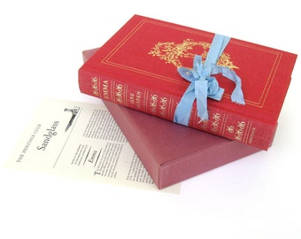 Emma by Jane Austen, Heritage Press Boxed Edition, Illustrated by Fritz Kredel, Blush Red Rose Decor, Jane Austen Book, Austen Wedding Prop