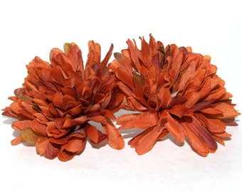 2 Rusty Orange Ball Mums - Artificial Flowers, Silk Flower Heads