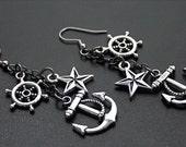 Nautical Earrings Gunmetal and Silver Anchors, Ship Wheels, and Nautical Stars Dangle Pirate Earrings