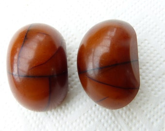 Ultra rare African Amber Sterling Silver Earrings, clip on earrings