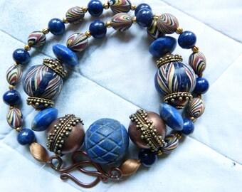Natural Lapis Lazuli and Indonesian Jatim Pelangi Glass Necklace with copper, Extraordinary