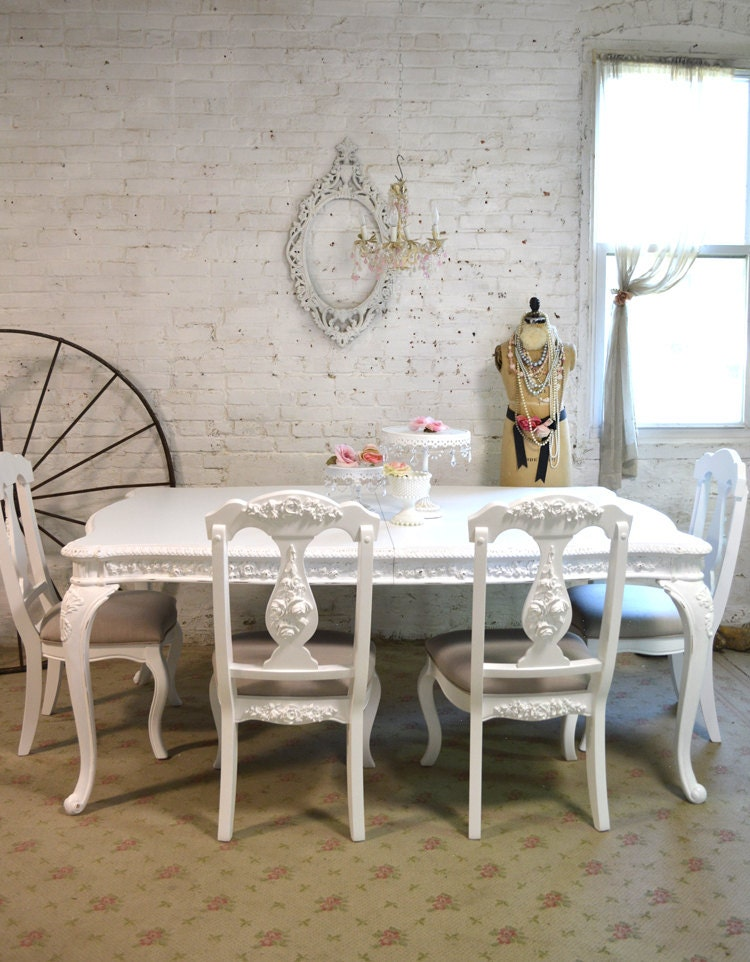 Dining table painted cottage chic shabby white french dining for White painted dining table