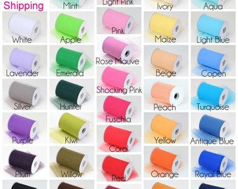"Free Shipping 6"" X 100 Yards roll tulle fabric ribbon Tutu  Bridal Bows 23 Colors U choose color"