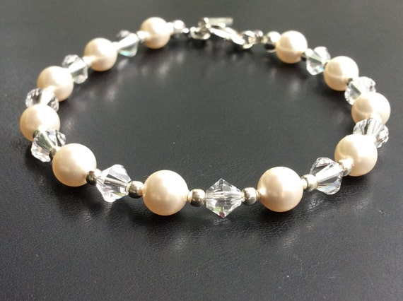 Elena Wedding Bracelet - Bridal Swarovski Pearls Crystals COLOR OPTIONS