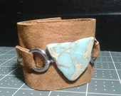African Opal and Suede Cuff Bracelet