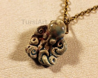 Ceramic Octopus Pendant on Chain Necklace Choice of Brass Copper or Silver Octopus Necklace Squid Pendant Kraken cephalopod Nautical Pirate